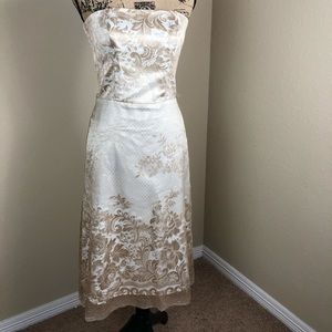 White House Black Market Gold Lace Dress 4